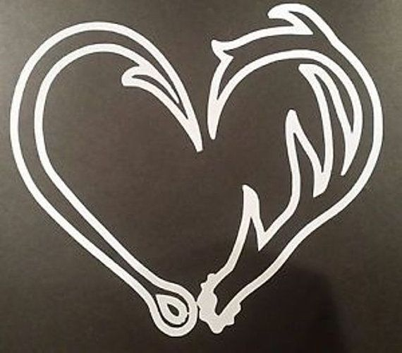 Custom Hook And Antler Heart Shaped Vinyl Decal Heart Vinyls - Custom vinyl decals etsy