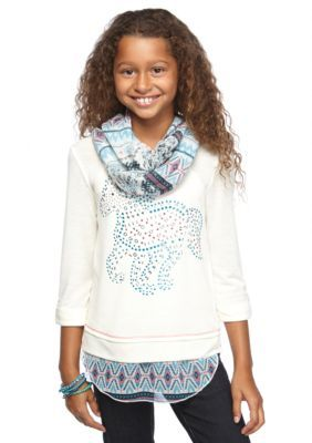 Self Esteem  Horse Hangdown Top with Printed Scarf Girls 7-16