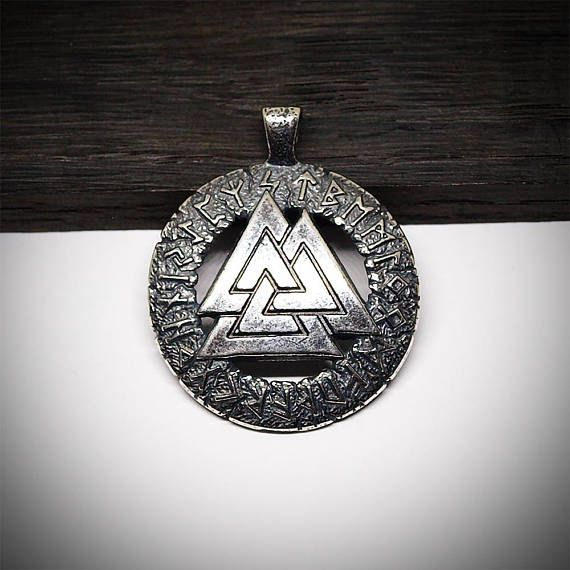 Valknut Necklace Silver Plated Brass Viking Nordic Norse