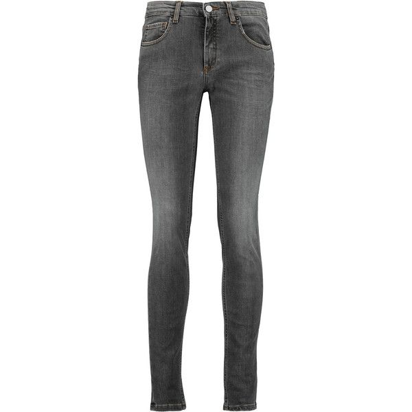 Victoria Beckham Denim Super Skinny mid-rise jeans ($140) ❤ liked on Polyvore featuring jeans, dark gray, super skinny jeans, mid-rise jeans, super distressed skinny jeans, destructed jeans and torn skinny jeans