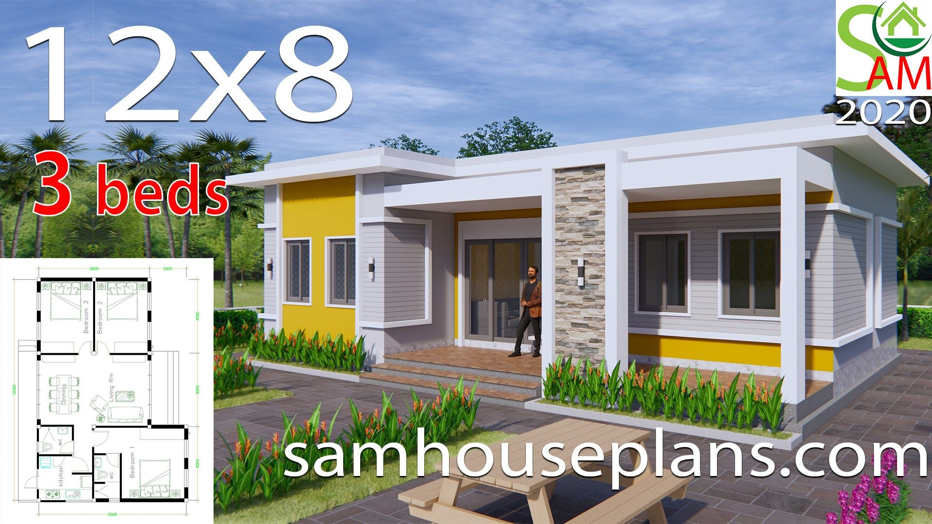 House Plans 12x8 With 3 Bedrooms Terrace Roof Sam House Plans In 2020 One Bedroom House Plans One Bedroom House Duplex House Plans