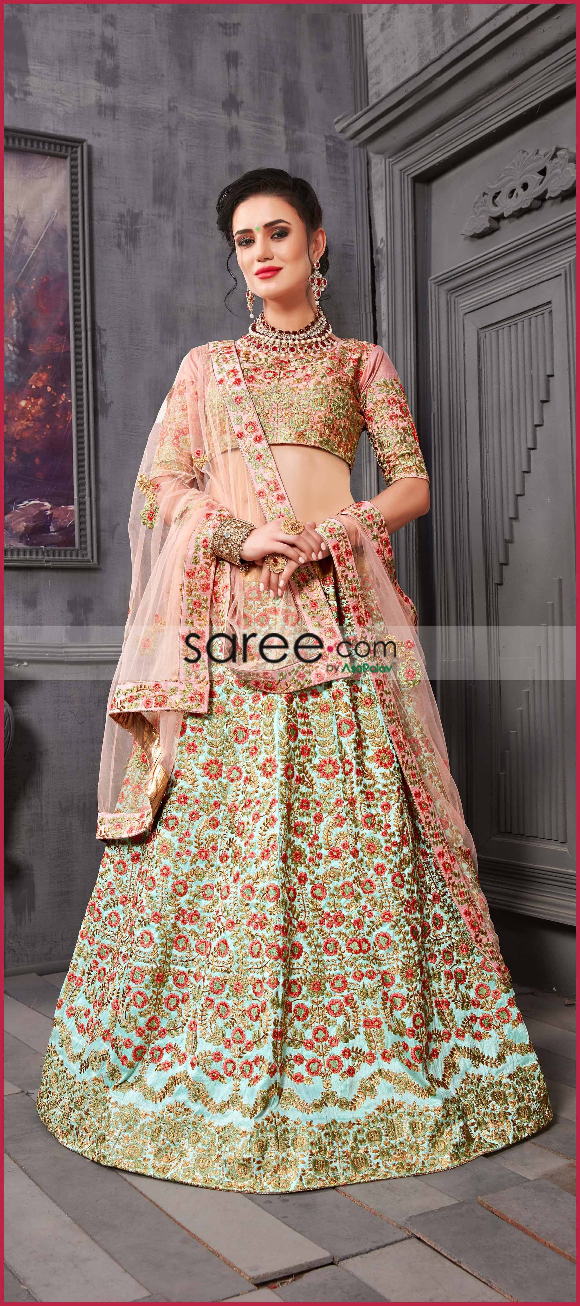 3e7a25b5188db5 Sky Blue Silk Designer Lehenga Choli with Zari Embroidery | Bridal ...