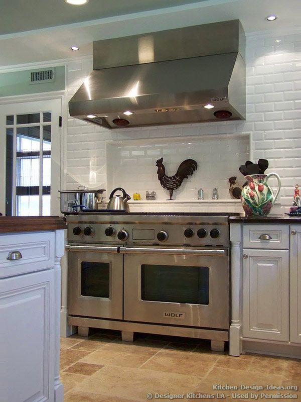 Subway Tile Back splash Shelf, Wolf Range & Hood - Designer ...