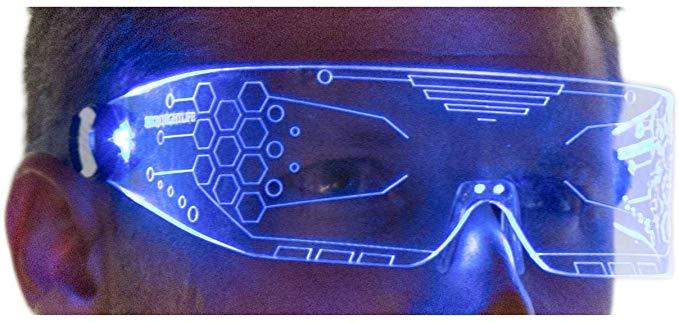 Cyberpunk Goggles Rezz Visor Robocop Futuristic Electronic Lights Neon Nightlife LED Light Up Glasses