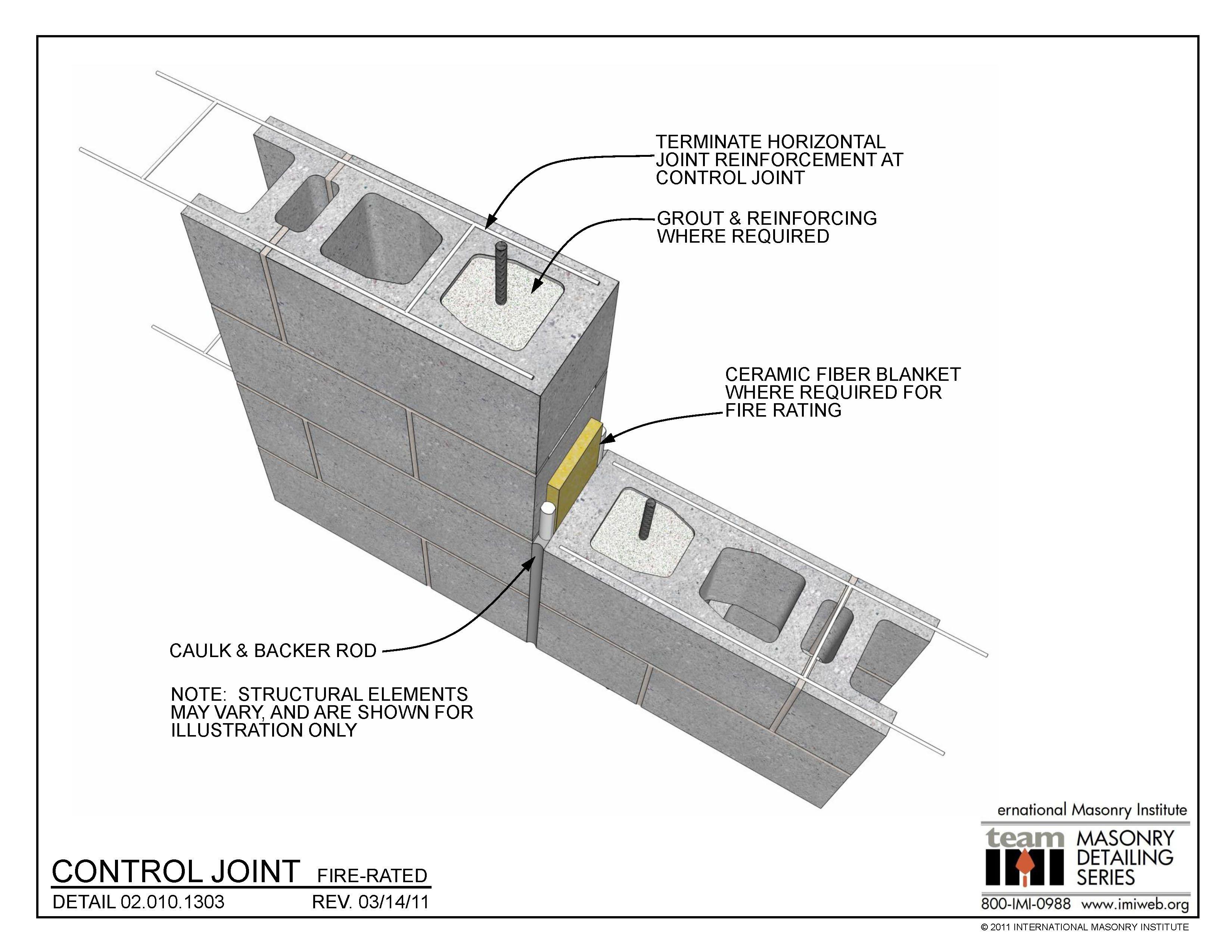02 010 1303 Control Joint Fire Rated International Masonry Institute Masonry Masonry Wall Wall Systems