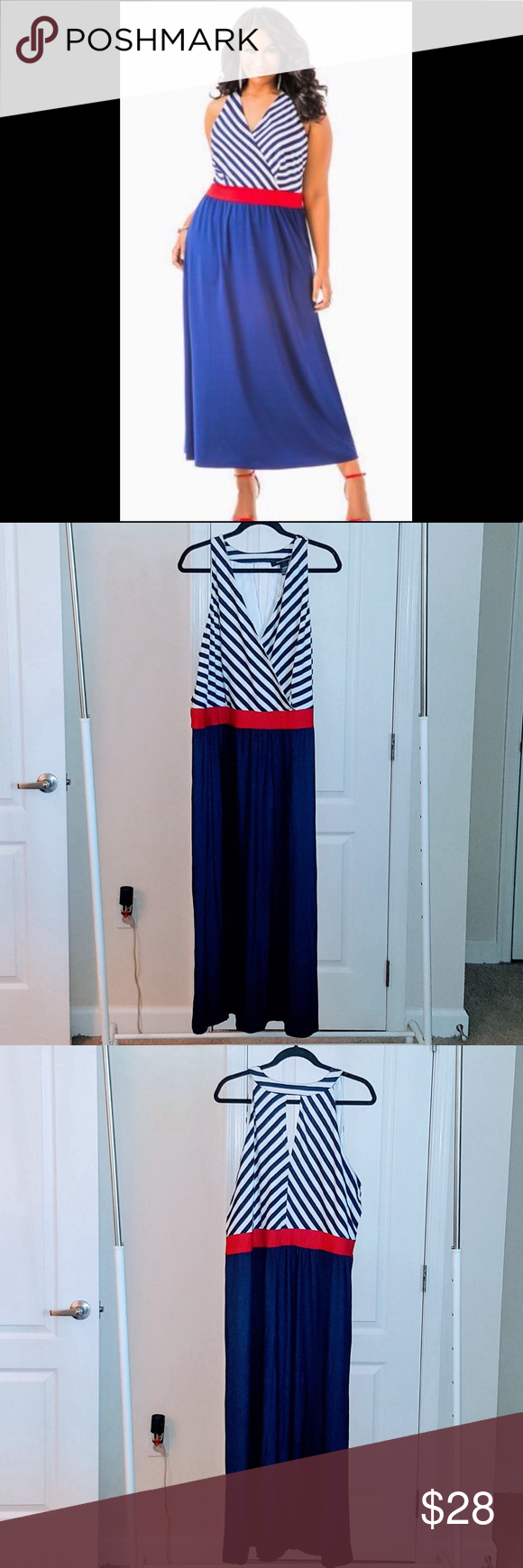 Ashley Stewart Americana Maxi Dress Size 26 Ashley Stewart Blue White And Red Americana Maxi Dress Nwt V Nec Ashley Stewart Dresses Clothes Design Blue Skirt [ 1740 x 580 Pixel ]
