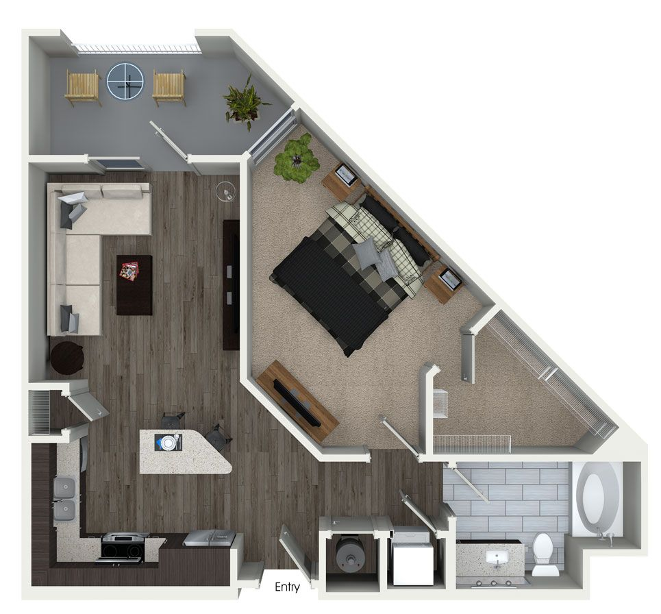 1 bedroom 1 bathroom floorplan at 555 ross avenue - One bedroom apartments in dallas tx ...