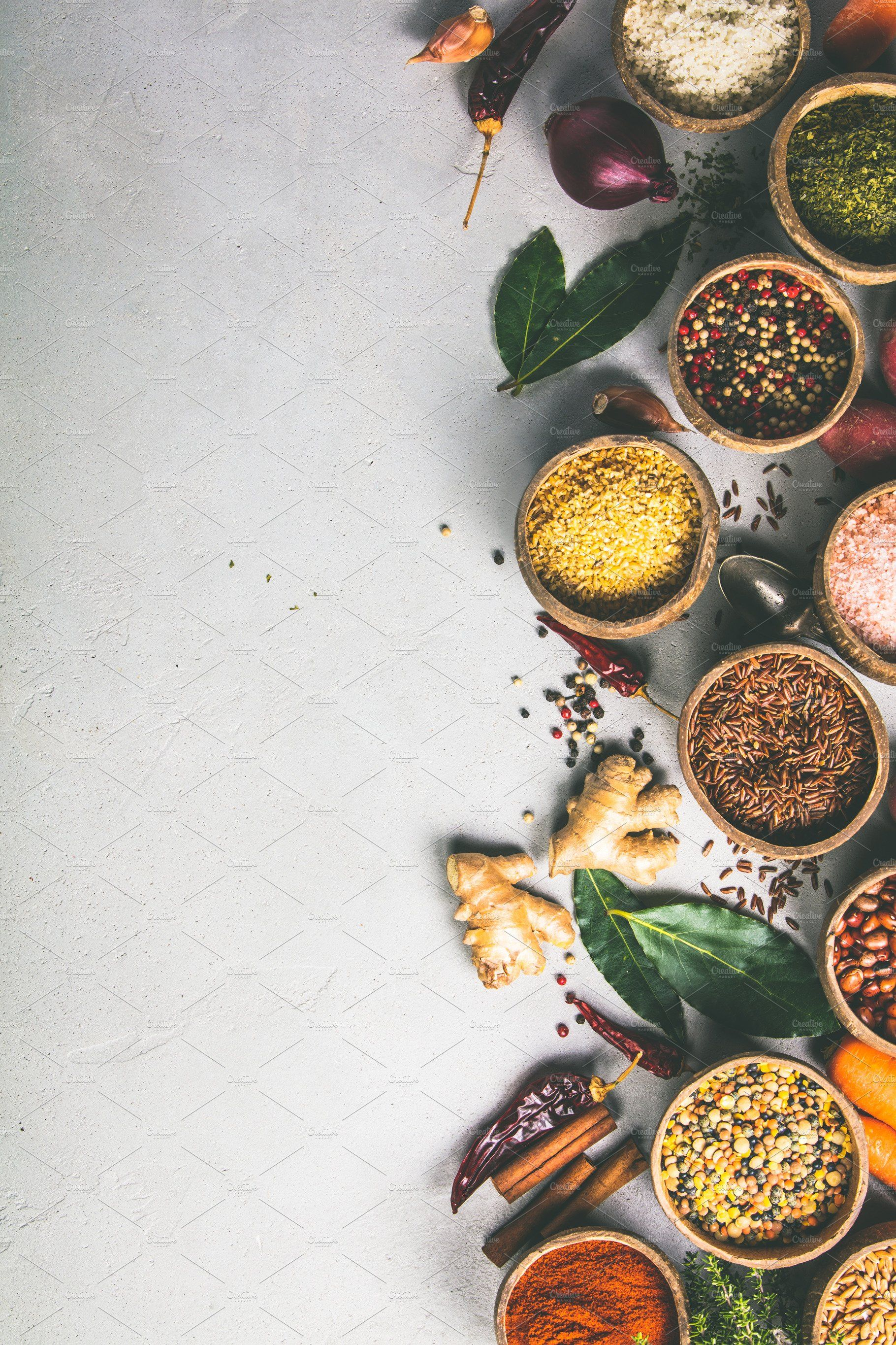 Healthy Ingredients And Spices On Ru Ingredients Photography