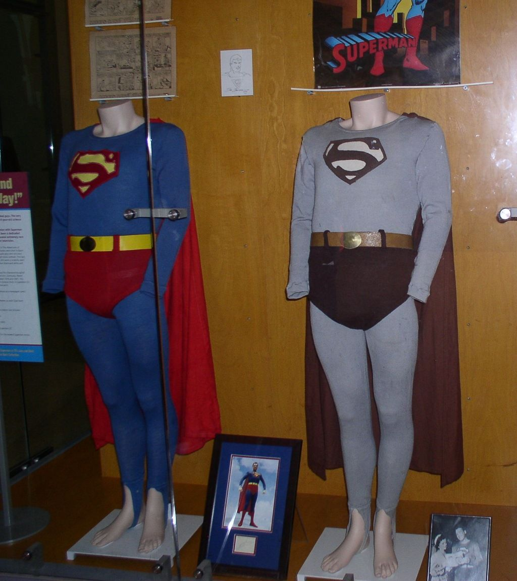 George Reeves' costumes on display, black & white and ...