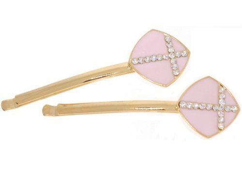 Bobby Pin - bobbypin0067 - pink701 by LongHairGirl. $11.99. Rhinestone. Decorated with Swarovski crystals. Imported. This set of SWAROVSKI crystal pins with cross measure approximately 2.5 inches long.