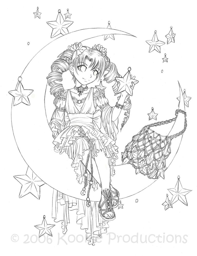 Star Keeper Coloring Page By Nijuuni On Deviantart Fairy Coloring Pages Coloring Books Coloring Pages