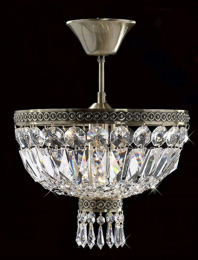 Details About Antique Brass Semi Flush Mount Crystal Light Chandelier