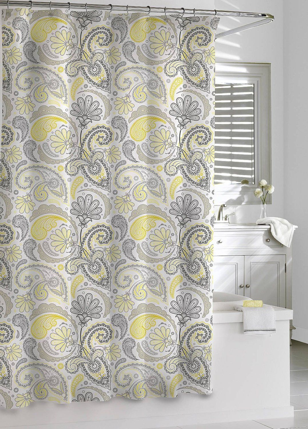 Kassatex Paisley Shower Curtain Yellow Grey 72 By 72 Inch Decorating With