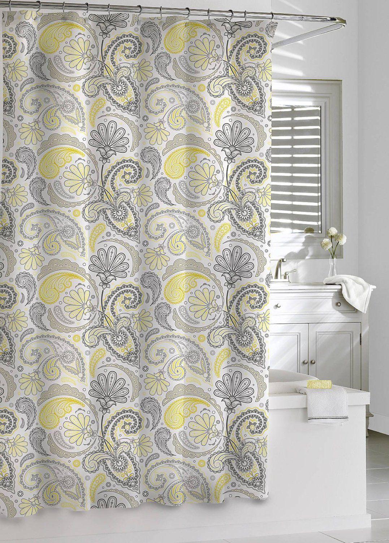Amazon Com Kassatex Paisley Shower Curtain Yellow Grey 72 By