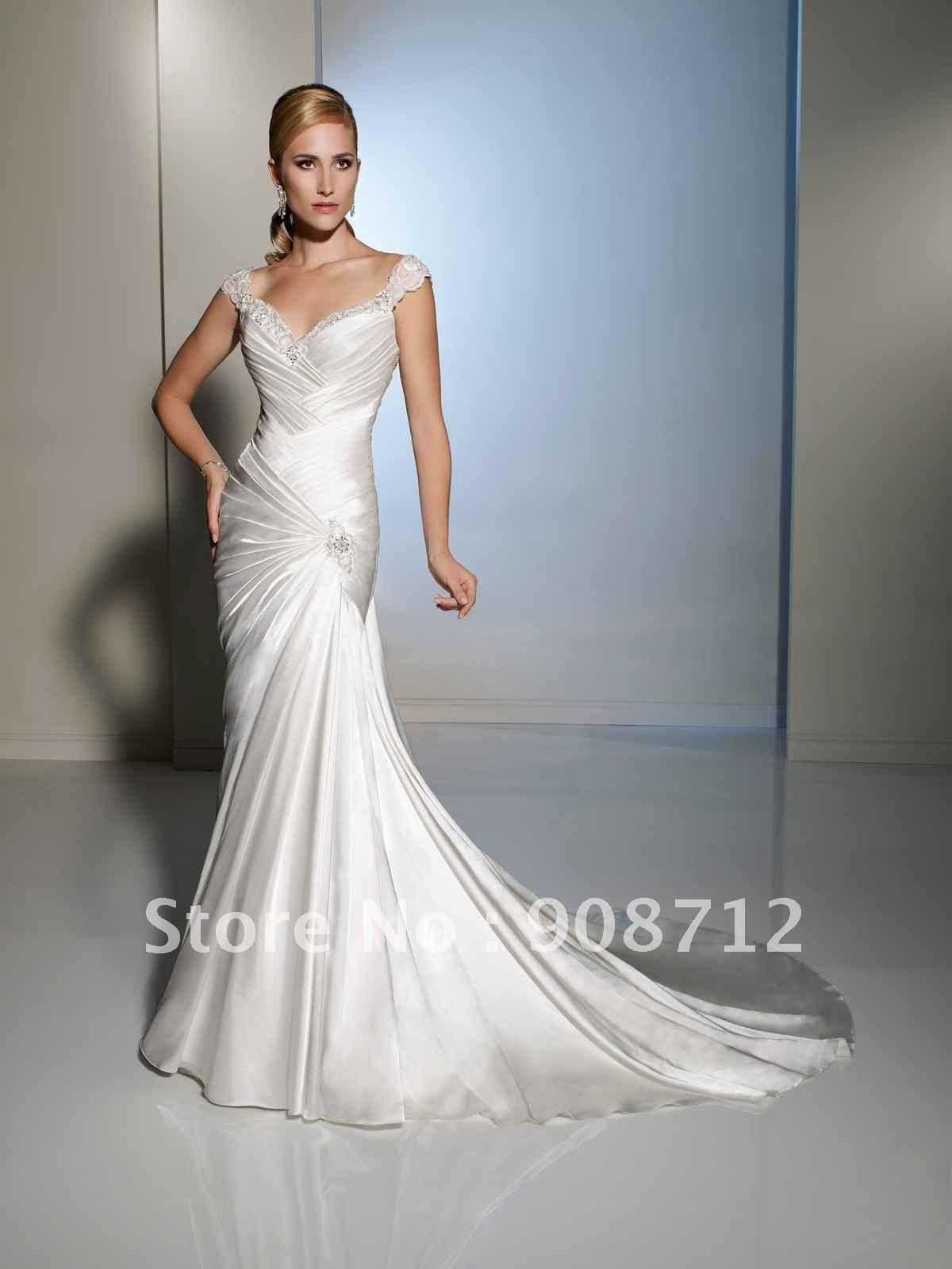Designer wedding dresses shipping style slim cap sleeve