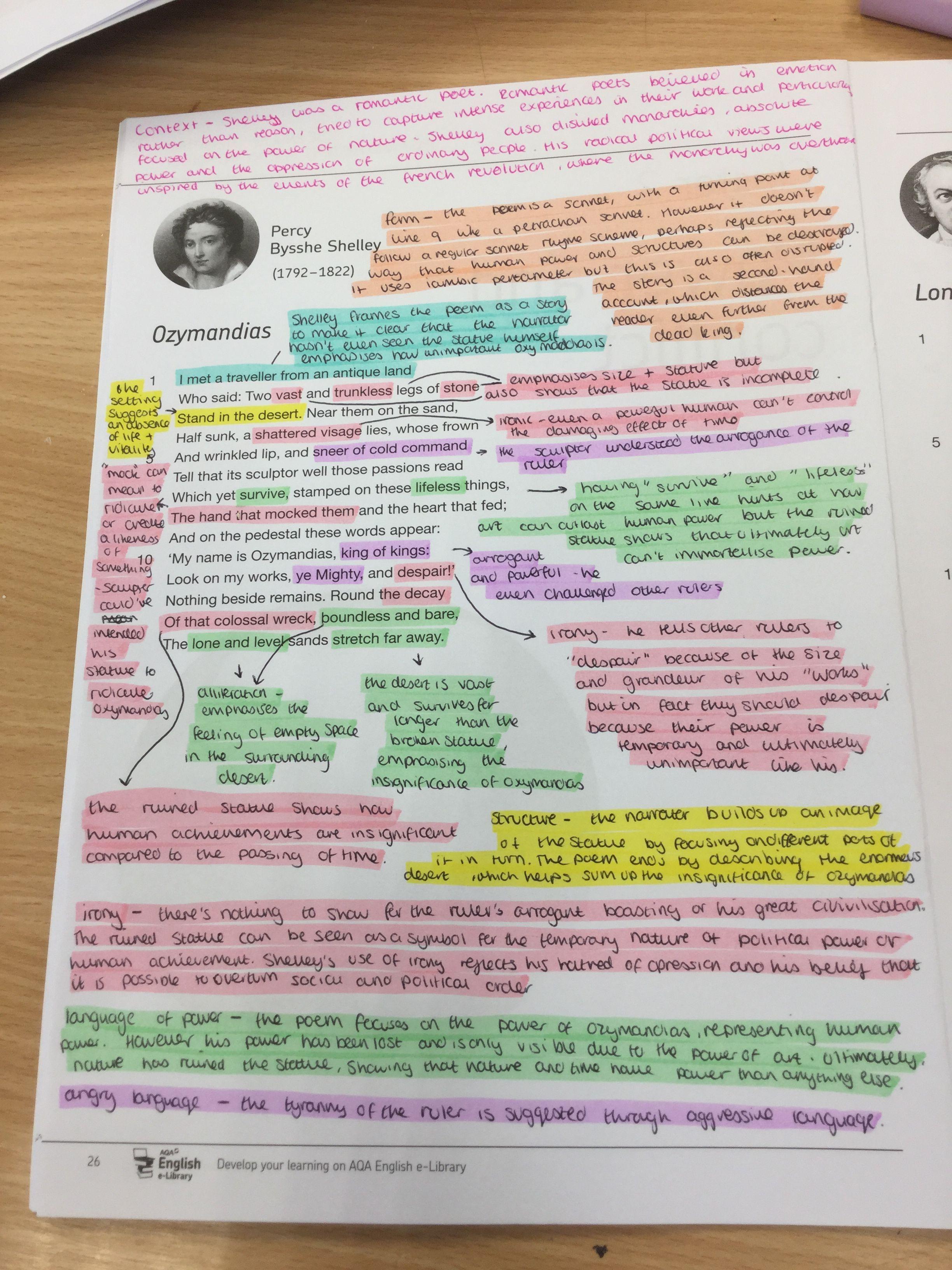 Power And Conflict Poetry Anthology Ozymandia By Percy Bysshe Shelley Dekoration Hausdekoration Hausdeko Gcse English Literature Poem Analysi Poems Theme Of The Pb