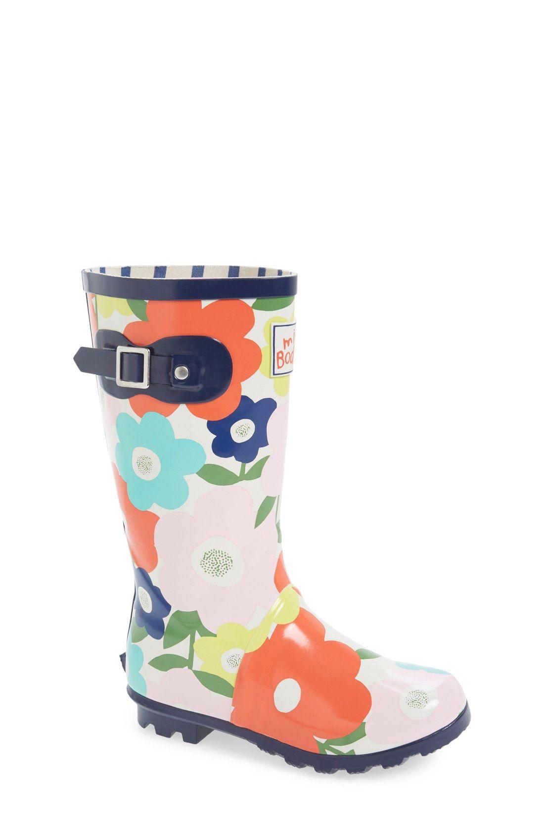 Mini Boden Flower Print Rain Boot (Toddler, Little Kid & Big Kid)    Nordstrom