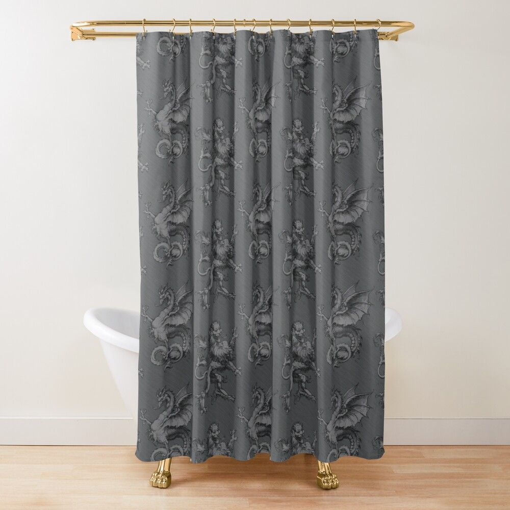 Medieval Heraldry Cockatrice Vs Lion Pattern Grey Shower Curtain By Wickedrefined Nicole Demereckis In 2020 Gray Shower Curtains Floral Shower Curtains Designer Shower Curtains