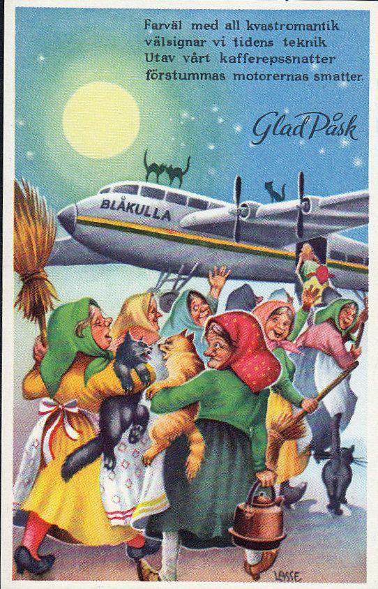 Trulliperinteen lisäksi Ruotsista on tullut tapa lähettää pääsiäiskortteja. 1800-luvulla ruotsalaiset lapset kirjoittivat toisilleen pääsiäiskirjeinä matkapasseja noitien asuinpaikkaan Kyöpelinvuorelle: näihin hullunkurisiin kirjeisiin piirrettiin luudalla istuva noita-akka kissan ja kuhmuisen kahvipannun kera ja toivotettiin onnea pitkälle, kiikkerälle lentomatkalle. Sittemmin omatekoiset pääsiäiskirjeet korvattiin painetuilla pääsiäiskorteilla ja niiden lähettäminen tuli suosituksi…