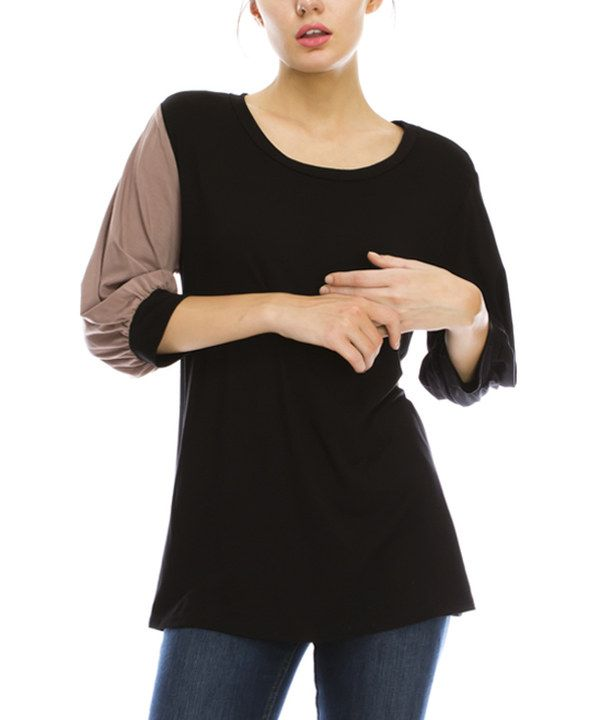 Look at this First Feeling Black & Mocha Contrast Three-Quarter Sleeve Top on #zulily today!