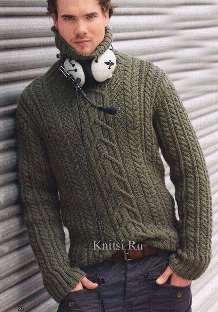 CTejidas [Crochet y Dos Agujas]: Patrón #1217: Suéter Hombres en Dos ...