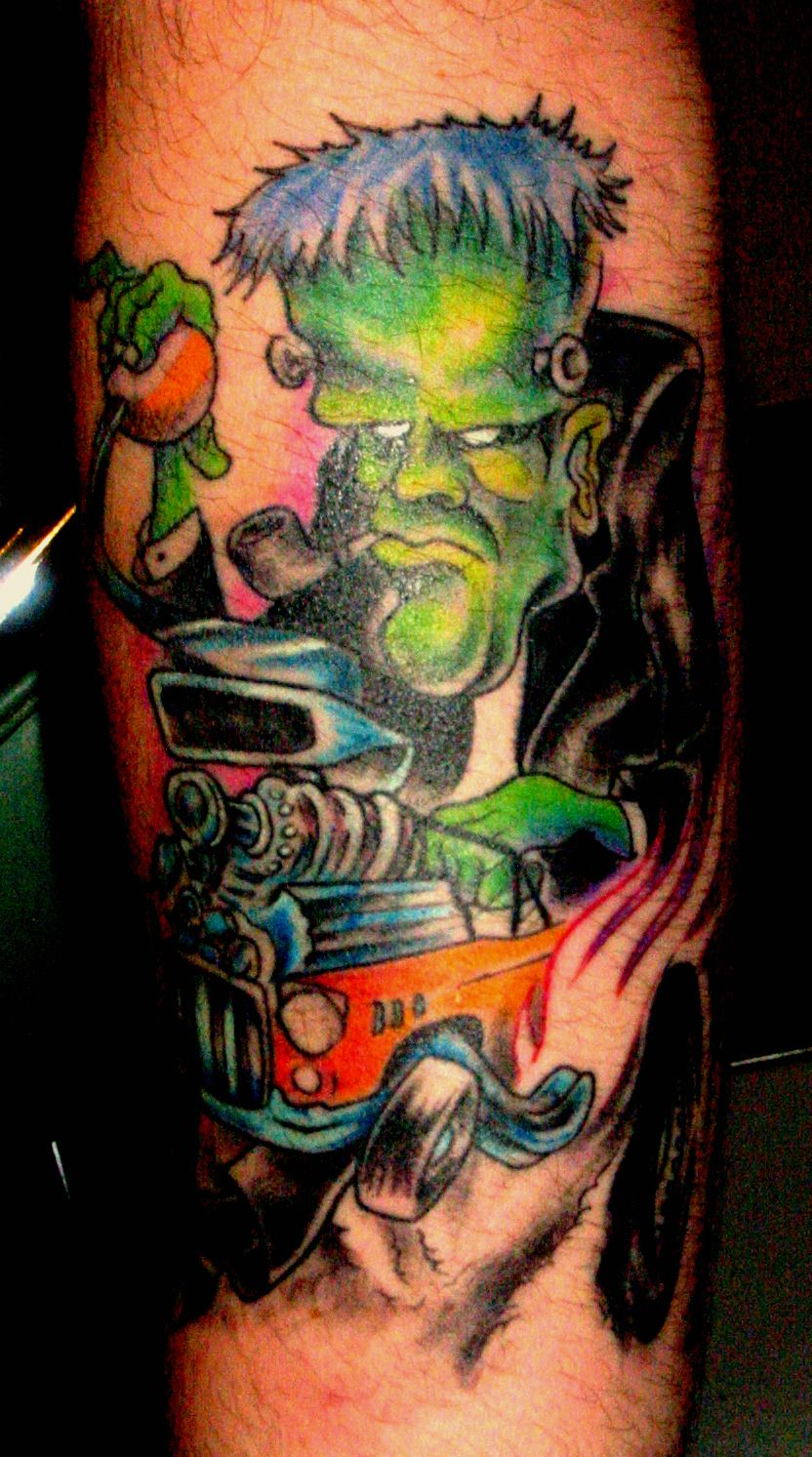 With that said 60 high horsepower piston tattoo designs for men - Custom Color Frankenstein Hot Rod Badass Tattooscool