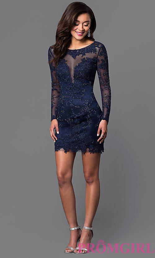 Long Sleeve Lace Dave And Johnny Short Prom Dress Dresses And