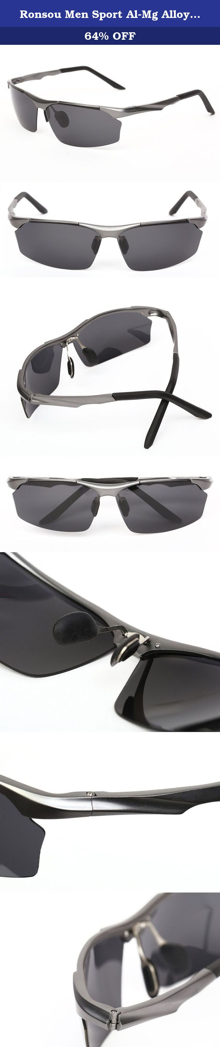 1091f78c81 Ronsou Men Sport Al-Mg Alloy Frame Polarized Sunglasses Fashion Driving  eyewear gray frame