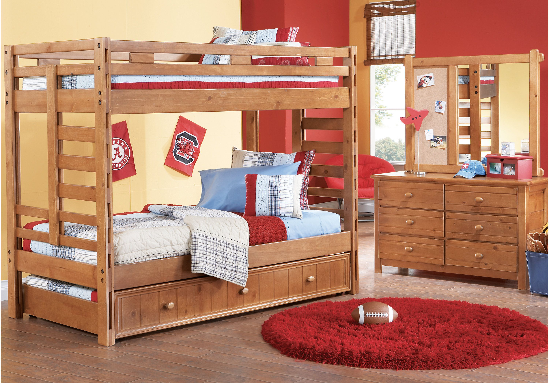 Creekside Taffy Twin Twin Bunk Bed Bunk Loft Beds Light Wood Bedroom Sets