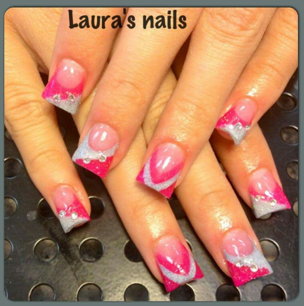 acrylicnails #hotpink #silver #diamonds #flare #fun #nails #sparkle ...