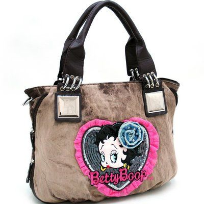 #Betty #Boop Denim Shoulder Bag w/ Sequin And Lace Accents Brown - Sale Price: $49.80