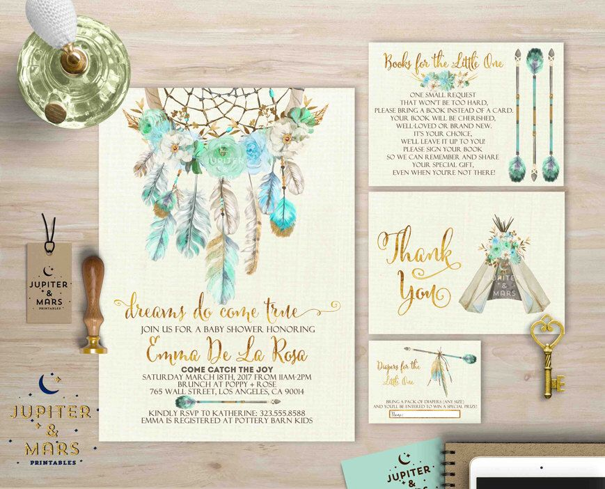 Boho Chic Dreams Do Come True Dream Catcher Baby Shower Bundle Invitation Thank You