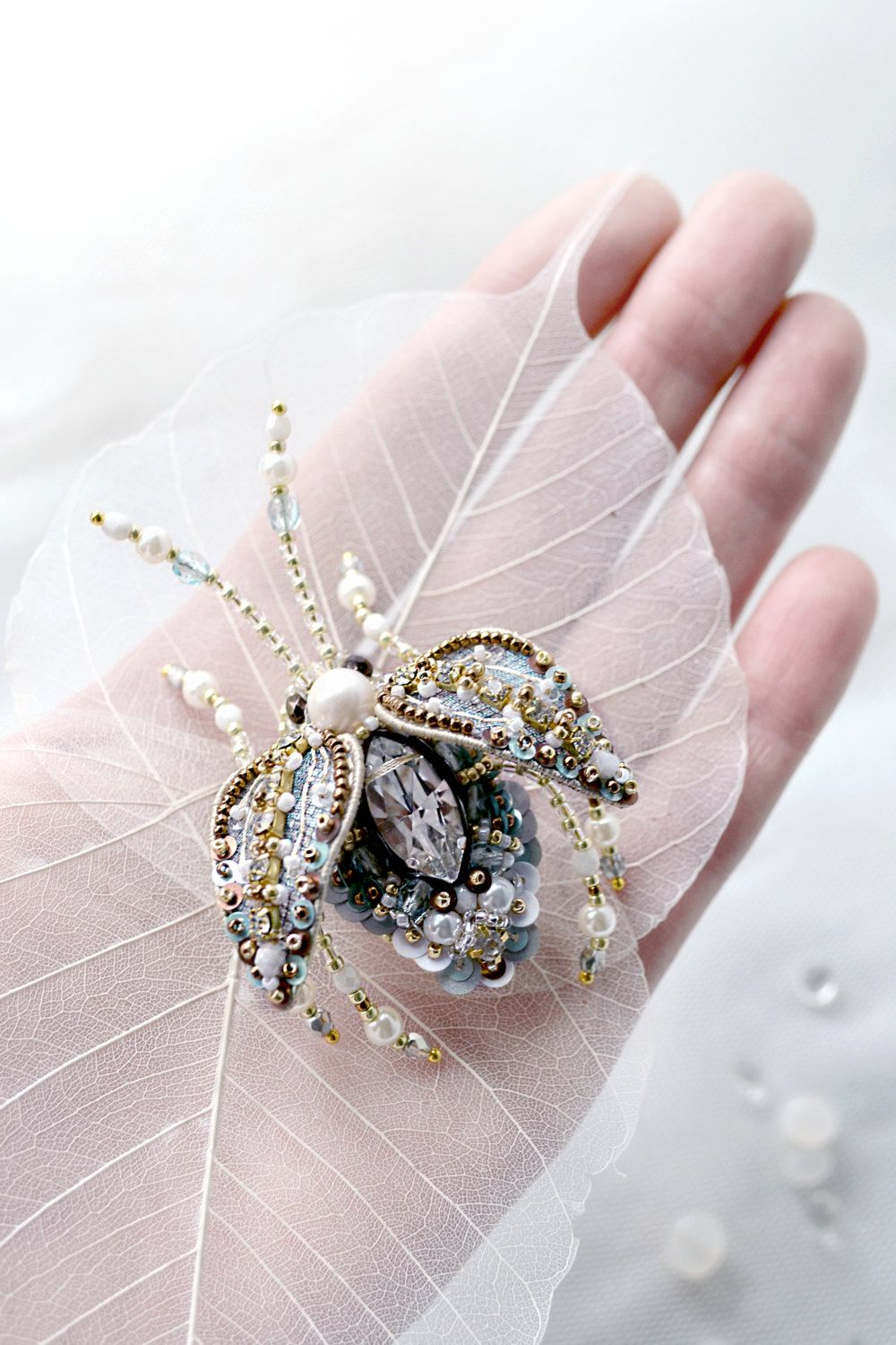 Large insect ring Insect brooch Insect от PurePearlBoutique