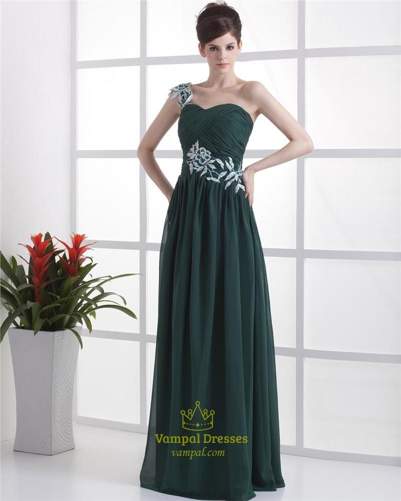 Forest Green Dresses For Bridesmaids,Emerald Green One Shoulder ...