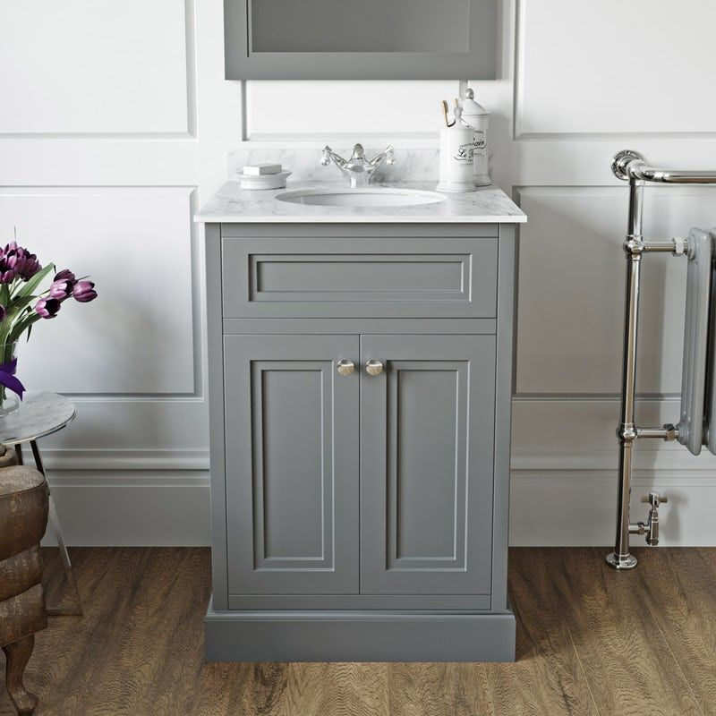 The Bath Co Chartham Slate Matt Grey Floorstanding Vanity Unit And White Marble Basin 600mm In 2020 Vanity Units White Marble Bathrooms Marble Bathroom Designs