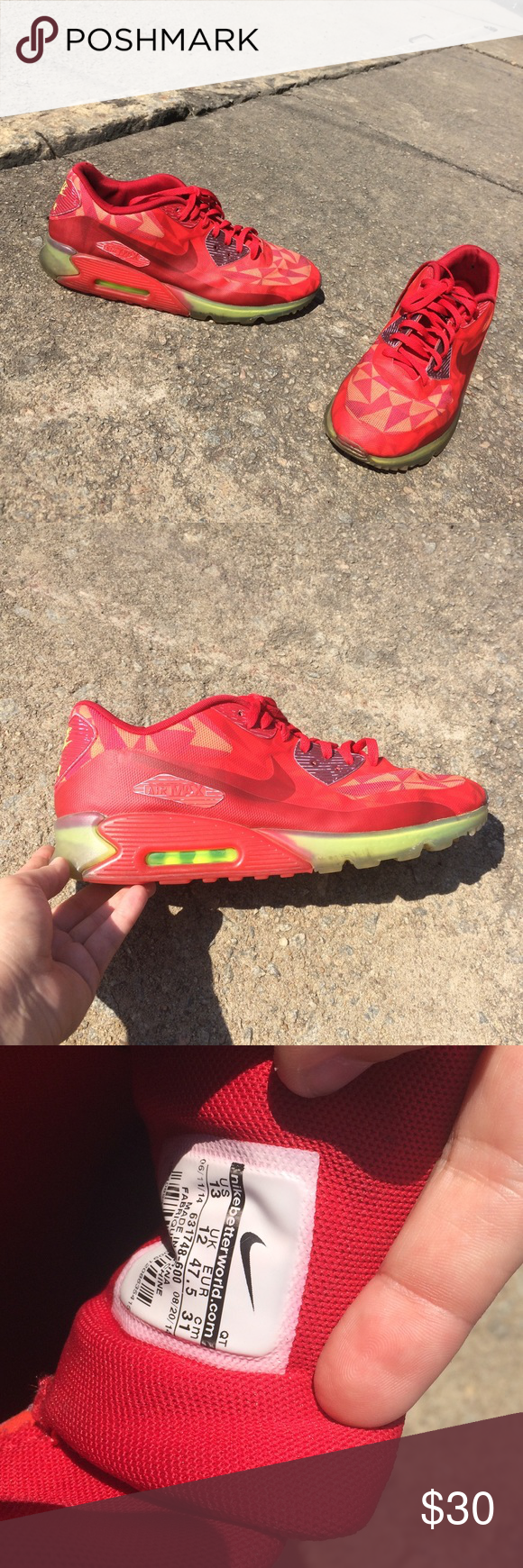 fbe9e4e777 ... czech nike air max 90 red geometric neon gum sole 13 preloved but in  great condition