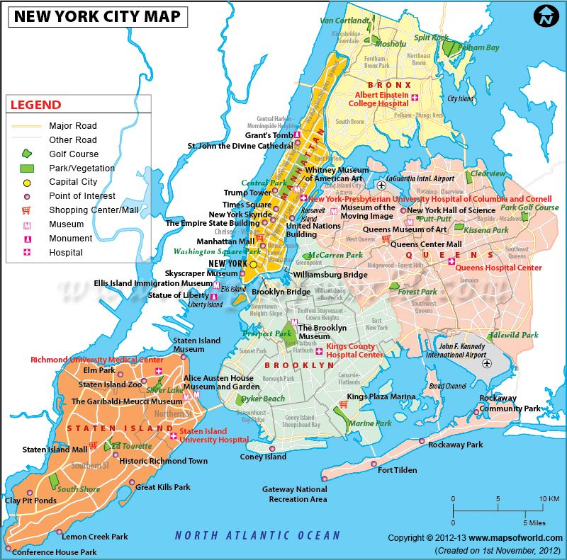 Map of NewYork City in USA showing roads airports metro