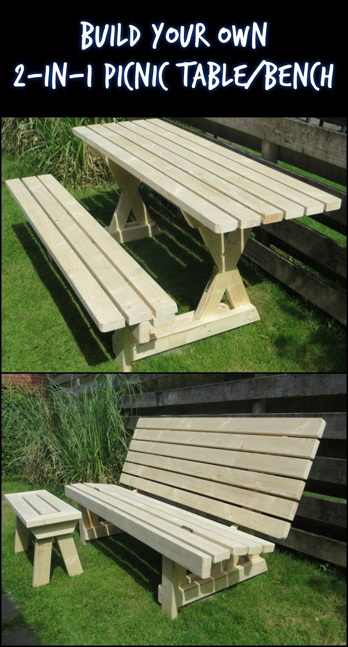 Build A 2 In 1 Picnic Table/Bench Perfect For Small Outdoor Spaces!