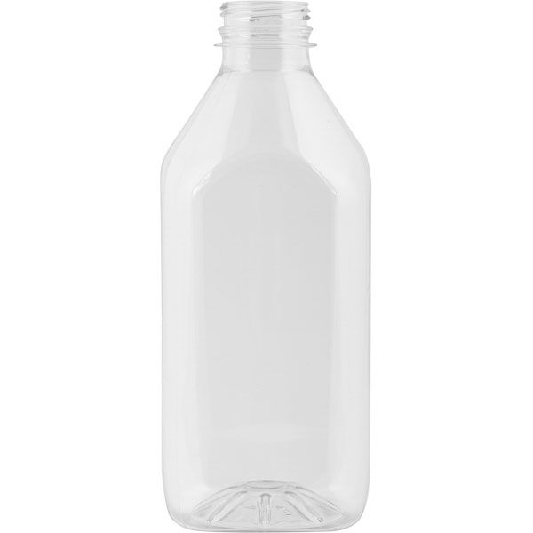 32 oz  Clear PET Plastic Tamper Evident Square Bottle, 38mm
