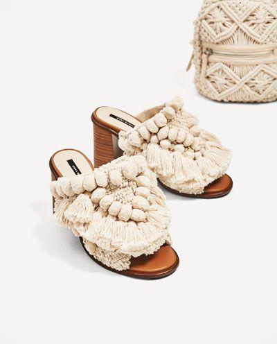 With United States High Heel Mules Woman Shoes SaleZara Pompoms TJ51cFlKu3
