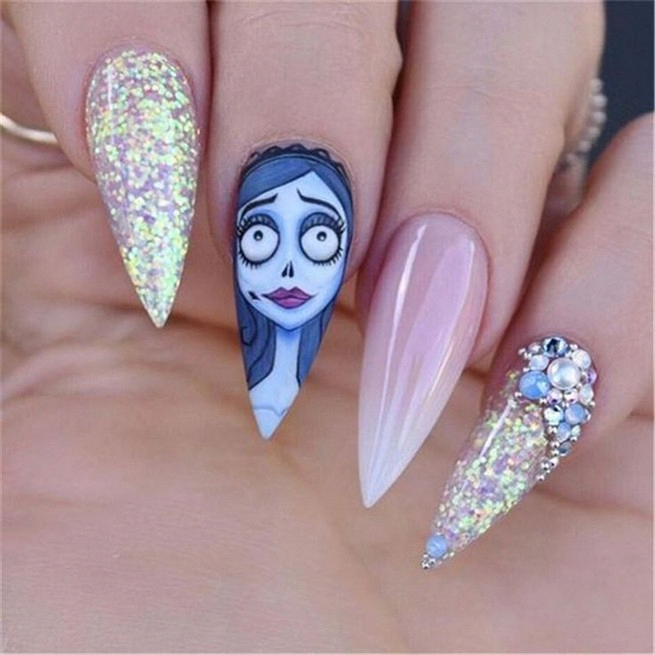 Simple halloween nails acrylic coffin 4 - www.GstFrontline ...