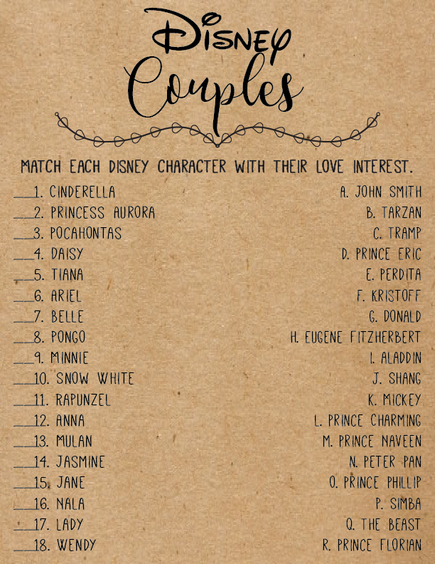 Disney Love Quotes Bridal Shower Games Disney Bridal