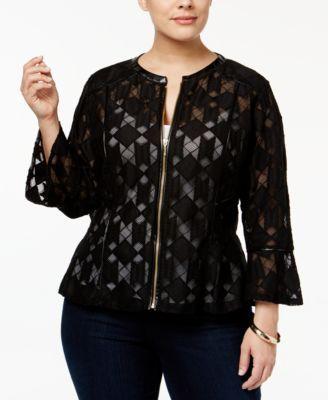 9126d46ea INC International Concepts Plus Size Lace Peplum Jacket