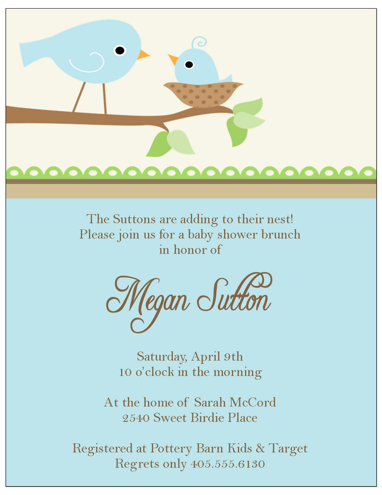 It is a simple baby shower invitation that you can use I