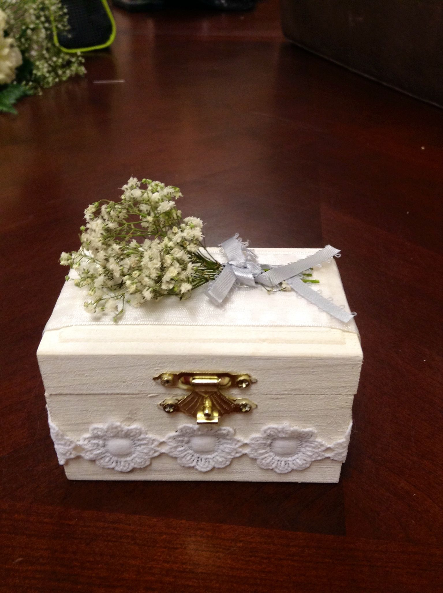 Wedding Ring Box for my brother's wedding: small chest from a craft store white washed with acrylic paint, adorned with lace given to me by my dear friend Jeanne.