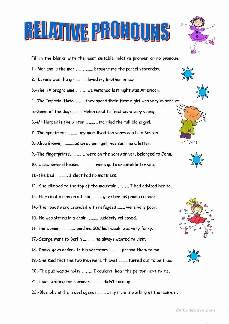 Relative Pronouns Worksheet Grade 4 Inspirational Relative Pronouns English  Esl Worksheets for Distance in 2020   Relative pronouns [ 1079 x 763 Pixel ]