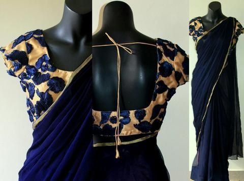 Designer Padded Blouse Online Leopard Trim Blouse