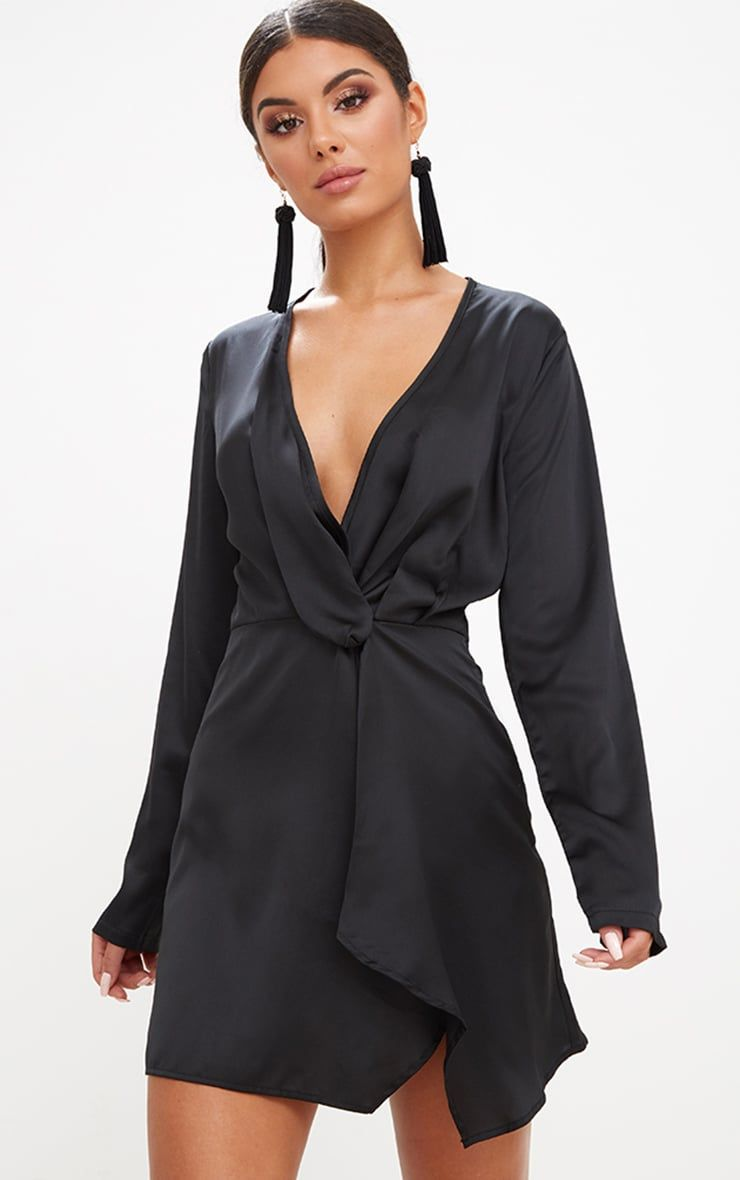 485ebe94fc09f Black Satin Long Sleeve Wrap Dress. Shop the range of Dresses today at  PrettyLittleThing;