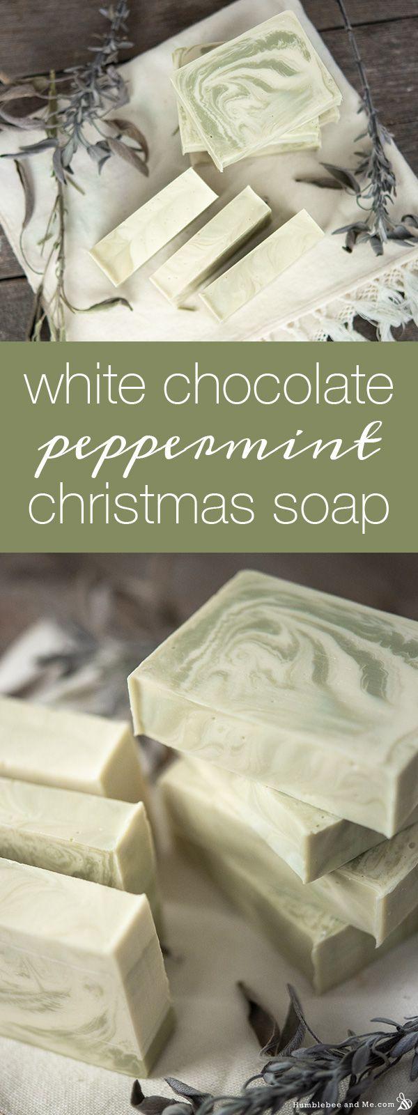 White Chocolate Peppermint Christmas Soap - Humblebee & Me