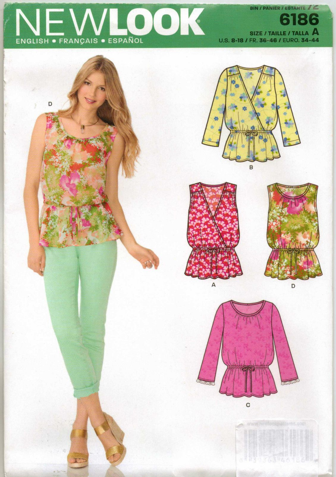 d4520b90 From UK Sewing Pattern Peplum Blouse Top 8-18 #6186 | Clothing ...